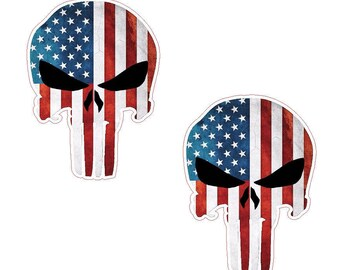 Punisher Skull American Flag Military Decal Sticker Graphic SET OF 2 10 INCH