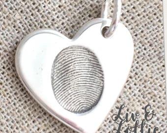Fine Silver Fingerprint Hear Charm