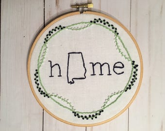 Custom Home State Hand Embroidered Hoop