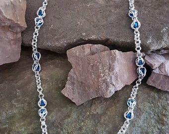 Chainmaille necklace aluminum, Swarovski crystals