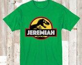 Custom Jurassic Park Tee Tees T-Shirt Jurassic Park Dinosaur Shirt Kids T-shirt With Name, Personalized Name Dinosaur Custom Names, aa01