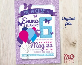 Building block Friends Birthday Invitation - Purple - 5x7 invite - printable digital file