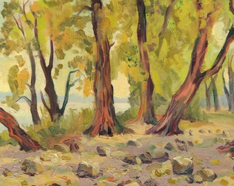 Landscape. Trees on the river Bank. ORIGINAL OIL PAINTING