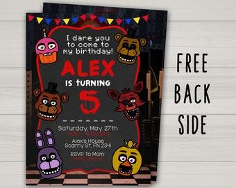 Five Nights at Freddy's invitation, FNAF invitation, Five Nights at Freddy's birthday invitation, Chalkboard invite