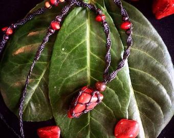 Red Jasper Macrame Necklace/ Red Jasper Pendant Necklace