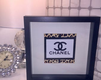 "COCO CHANEL inspired print in black frame 10""W x 10""H x 2""D"