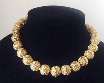 Vintage Monet Gold Tone Filigree Bead Choker Necklace