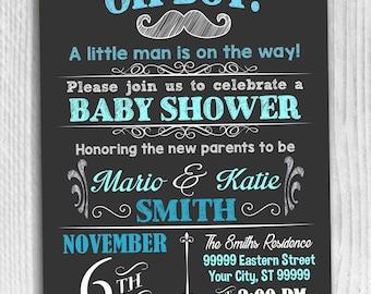 Baby Shower Boy Invitation Oh Boy Blue Black Digital Printable Chalk board Chalkboard  1017