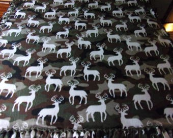 Green camo print with deer fleece blanket