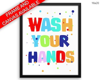 Wash Your Hands Wall Art Framed Wash Your Hands Canvas Print Wash Your Hands Framed Wall Art Wash Your Hands Poster Wash Your Hands Bathroom