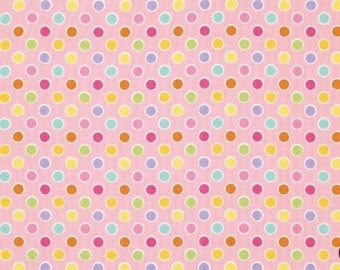 Happi Dots Fabric - Dena Designs - Free Spirit Fabric - Pink Multi Polka Dots