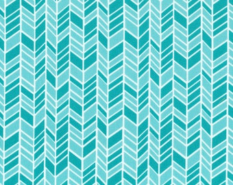 Straw Hat Blue/Turquoise Fabric -  Organic Cotton - Cloud 9 Fabrics - House and Garden -