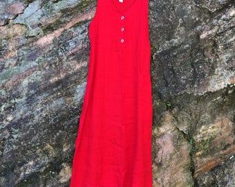 "Ankle-length bright poppy red 100% linen sleeveless ""Isabella"" dress"