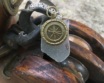 Compass beach glass necklace