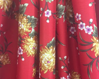 17-201 Red and Gold Floral Satin - Sold by the Yard