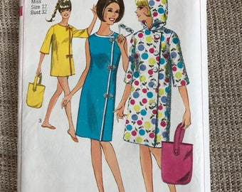 Vintage 1960's Simplicity 6529 Sewing Pattern Beach Dress Misses' Size 12