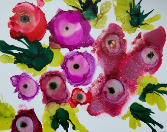 Spring Blooms - 9x12 Original Abstract floral painting - Alcohol Ink on Yupo paper