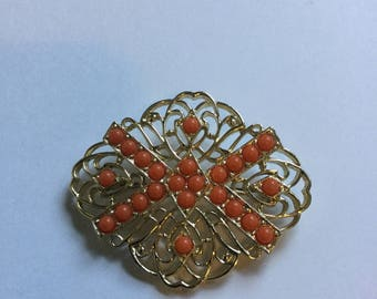 Vintage Tangerine and Gold Tone Brooch by Sarah Coventry