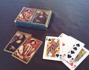 Old card games a rare portrait of François 1st and the Mona Lisa, complete