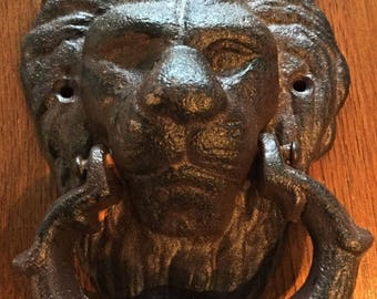 CAST iron door KNOCKER - lion's head - black patina rust satin