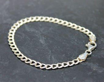 "Double Curb Bracelet, Sterling Silver Double Curb Bracelet, Charm Bracelet, Silver Bracelet, 7.5"" Silver Bracelet, Sterling Silver Bracelet"