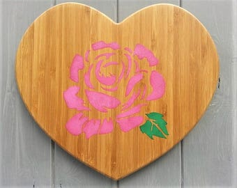 Wooden Heart - Rose - Pink - Nursery Wall Art - Baby Shower Kids Gift - Wood Wall Art Decor