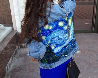 Van Gogh Starry Night denim jacket (prices just for paintings)