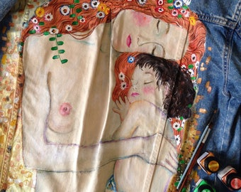 Hand painted Gustav Klimt denim jacket (! price just for painting !)