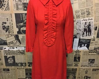 Original 1960s Long Sleeved Tuxedo Ruffle Neck Mod Dress in Red Approx Size UK 12