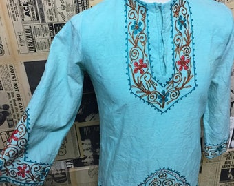 Vintage 1960s Indian Moroccan Style Kaftan Tunic Green with Embroidery Size S/M