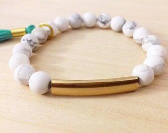 White Marble Bracelet w/Tassel
