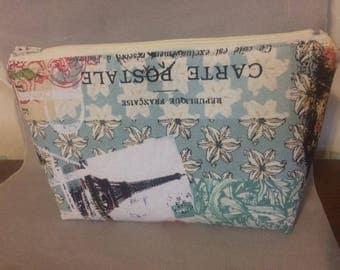 Zippered pouch, Paris design, makeup bag, cosmetic holder, toiletries, travel bag