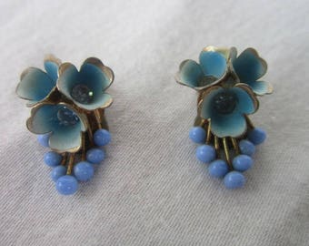 Antique Enameled & Glass beaded Flower Clip on Earrings Beautiful