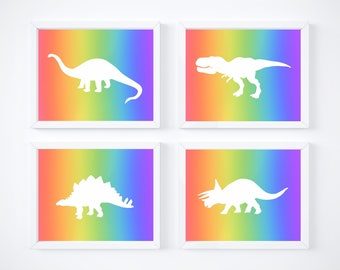 Instant digital download, set of 4 dinosaur silhouette printables