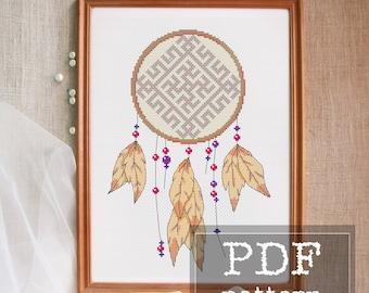 Slavic dreamcatcher cross stitch pattern Ethnic embroidery Boho cross stitch Modern folk needlework Feather Pagan gift Slavic decor PDF
