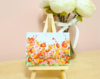 Original Miniature Acrylic Red Meadow Painting With Easel