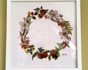 Late summer flower wreath, Print 25 x 25cm