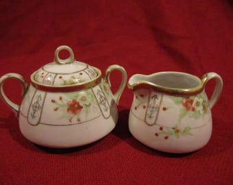 Noritake Nippon Sugar Bowl and Cream Pitcher