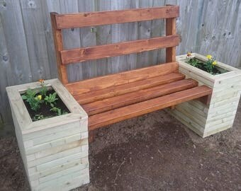 Garden Wooden Bench with Planters