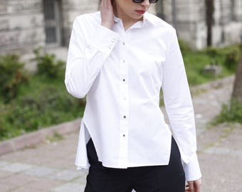 white tailed shirt metalic buttons smart business fun