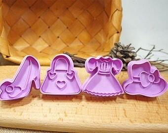 4pcs/Set 3D Cookie Stamp Cutters - Dress/ High Heels/ Handbag/ Hat - Fondant Biscuit Mold - Pastry Baking Tool Set