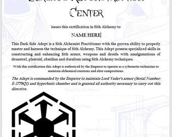 Star Wars Certificate - Certification in Sith Alchemy