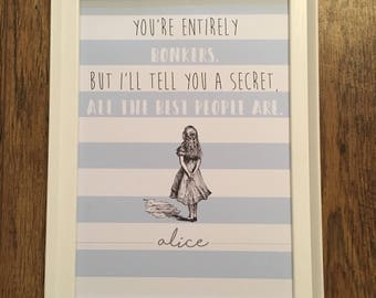 Alice in Wonderland A4 quote print