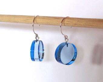 Earrings blue plexiglas circle transparent