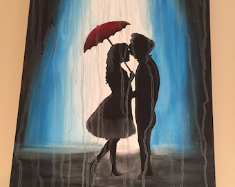 Couple Embracing in the Rain Painting