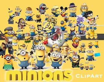 51 Minions ClipArt - Digital , PNG, image, picture,  oil painting, drawing,llustration, art , birthday,handicraft 300 DPI, 300 PPI