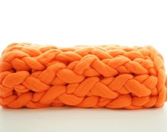 Chunky Knit Blanket SALE!! 30% off! Chunky Knit Throw, Super Chunky Merino Wool, Chunky Yarn, Chunky Knit Made in US