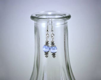 Blue Cats Eye Glass Bead With Silver Accented Drop Earring