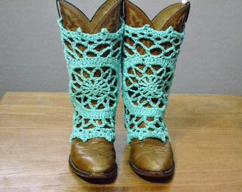 Boot Covers Done in Turquoise Cotton