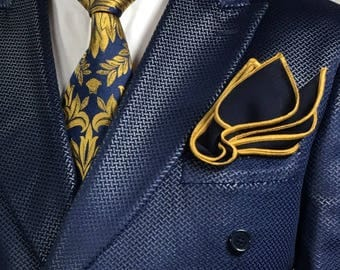 Pocket square Handmade Navy blue with gold stitched pipe borders by squaretrapny.com